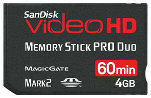 -- EOL -- SanDisk Memory Stick PRO Duo 4GB Video HD